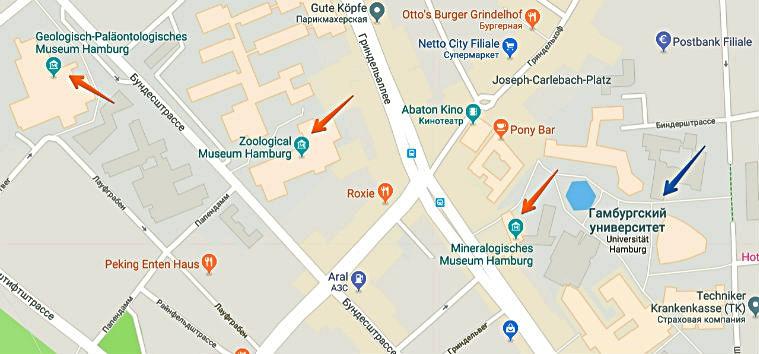 Карта расположения трех университетских музеев