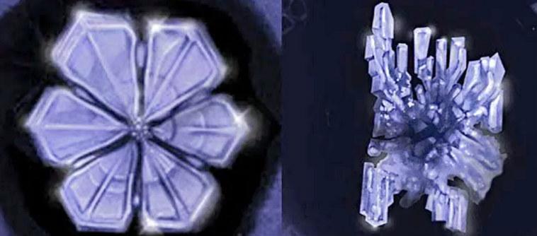 Кристаллы крещенской воды и простой
