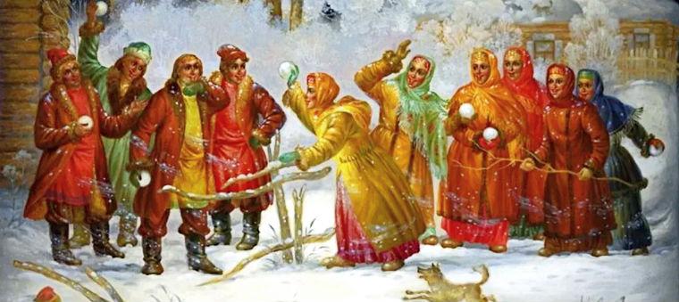 Снежная баталия на Масленицу