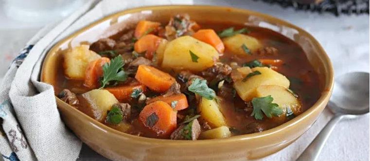 Густой суп с говядиной