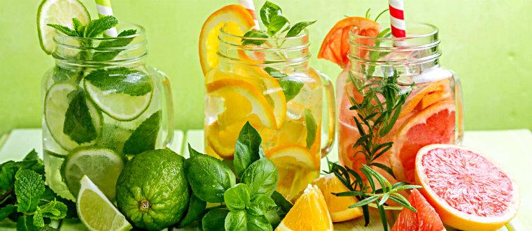 Вода с лимоном апельсином грейпфрутом базиликом