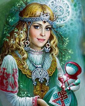 Богиня Лада с куклой-оберегом