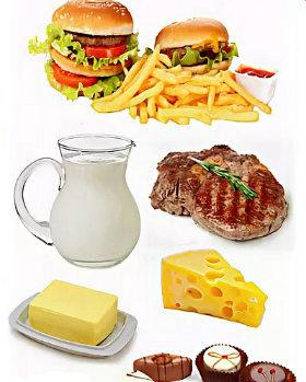 Нездоровые жиры фастфуда, красного мяса, твердого сыра