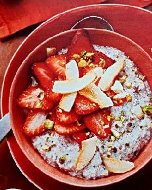 Завтрак из клубники и йогурта